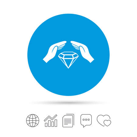 brilliants: Jewelry insurance sign icon. Hands protect cover diamonds symbol. Brilliants insurance. Copy files, chat speech bubble and chart web icons. Vector Illustration