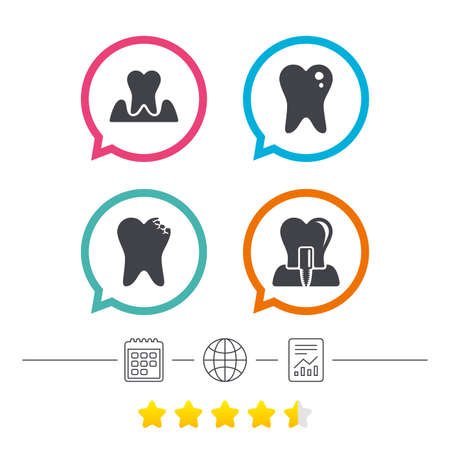 gingivitis: Dental care icons. Caries tooth sign. Tooth endosseous implant symbol. Parodontosis gingivitis sign. Calendar, internet globe and report linear icons. Star vote ranking. Vector