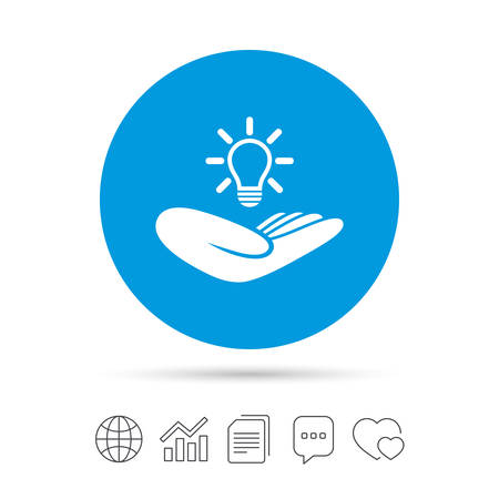 intellectual: Idea patent insurance sign. Hand holds lamp bulb symbol. Intellectual Property. Copy files, chat speech bubble and chart web icons. Vector