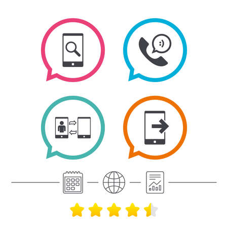 synchronization: Phone icons. Smartphone with speech bubble sign. Call center support symbol. Synchronization symbol. Calendar, internet globe and report linear icons. Star vote ranking. Vector