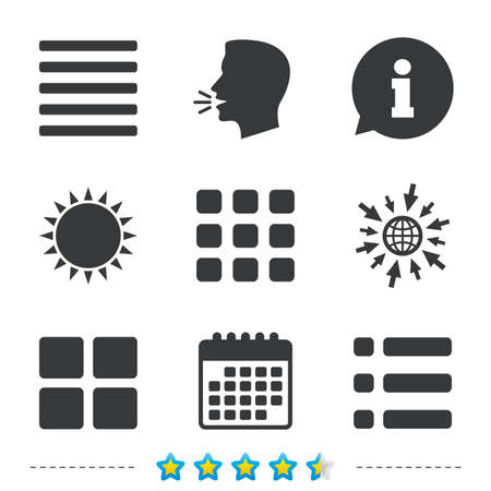 thumbnails: List menu icons. Content view options symbols. Thumbnails grid or Gallery view. Information, go to web and calendar icons. Sun and loud speak symbol. Vector Illustration