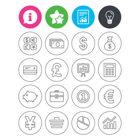 Information, light bulb and report signs. Money and business icons. Cash and cashless money. Usd, eur, gbp and jpy currency exchange. Presentation, calculator and shopping cart symbols. Vector