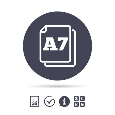 a7: Paper size A7 standard icon. File document symbol. Report document, information and check tick icons. Currency exchange. Vector