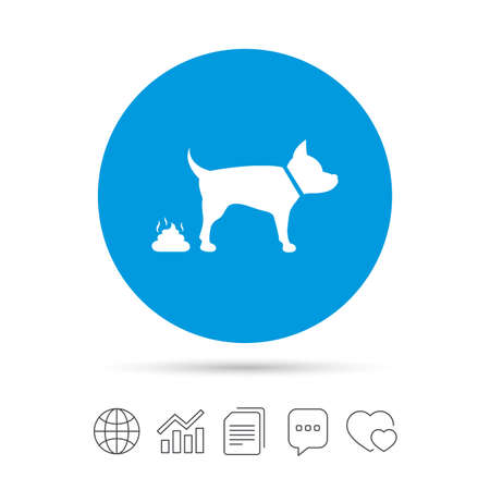 feces: Feces sign icon. Clean up after pets symbol. Put it in the bag. Copy files, chat speech bubble and chart web icons. Vector Illustration