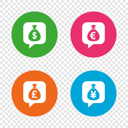 Money bag icons. Dollar, Euro, Pound and Yen speech bubbles symbols. USD, EUR, GBP and JPY currency signs. Round buttons on transparent background. Vector 向量圖像