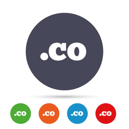 domain: Domain CO sign icon. Top-level internet domain symbol. Round colourful buttons with flat icons. Vector