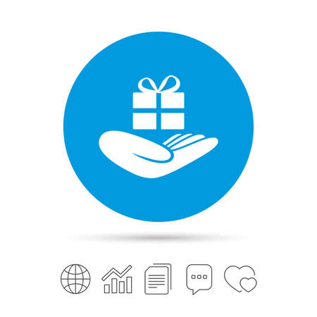 give a gift: Give a gift sign icon. Hand holds present box with bow. Copy files, chat speech bubble and chart web icons. Vector