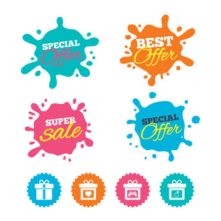 Best offer and sale splash banners. Gift box sign icons. Present with bow and ribbons symbols. Engagement ring sign. Video game joystick. Web shopping labels. Vector Illustration