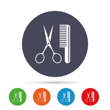 barber scissors: Comb hair with scissors sign icon. Barber symbol. Round colourful buttons with flat icons. Vector