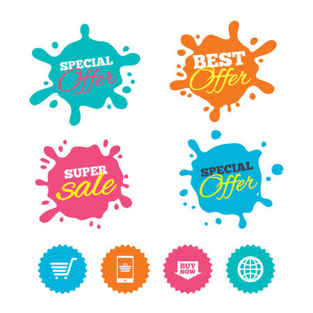 buy now: Best offer and sale splash banners. Online shopping icons. Smartphone, shopping cart, buy now arrow and internet signs. WWW globe symbol. Web shopping labels. Vector