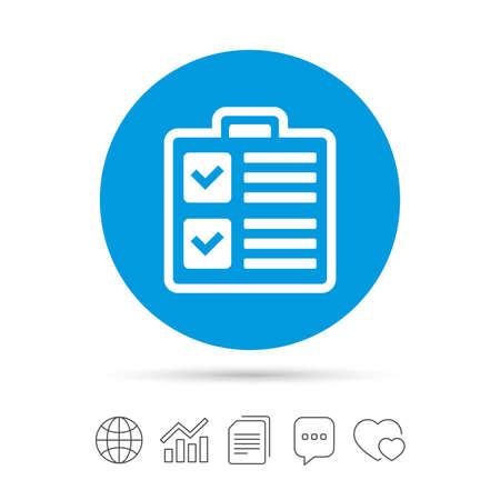 poll: Checklist sign icon. Control list symbol. Survey poll or questionnaire form. Copy files, chat speech bubble and chart web icons. Vector Illustration