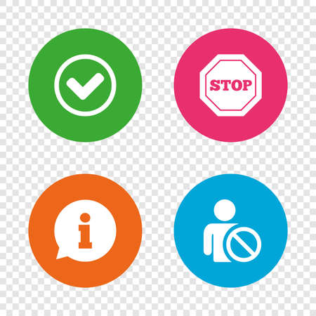 blacklist: Information icons. Stop prohibition and user blacklist signs. Approved check mark symbol. Round buttons on transparent background. Vector Illustration