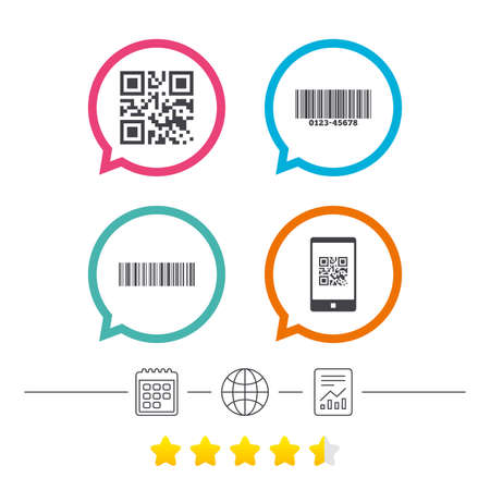 Bar and Qr code icons. Scan barcode in smartphone symbols. Calendar, internet globe and report linear icons. Star vote ranking. Vector Illustration