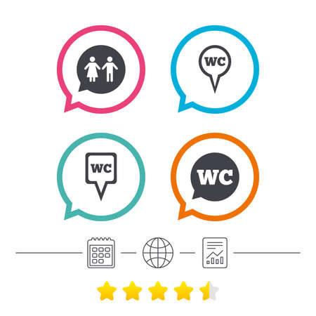 ranking: WC Toilet pointer icons. Gents and ladies room signs. Man and woman speech bubble symbols. Calendar, internet globe and report linear icons. Star vote ranking. Vector