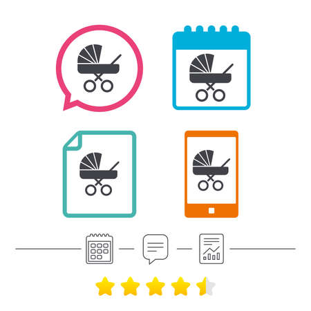 buggy: Baby pram stroller sign icon. Baby buggy. Baby carriage symbol. Calendar, chat speech bubble and report linear icons. Star vote ranking. Vector Illustration
