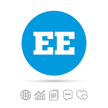 Estonian language sign icon. EE translation symbol. Copy files, chat speech bubble and chart web icons. Vector