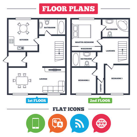 qa: Architecture plan with furniture. House floor plan. Question answer icon.  Smartphone and Q&A chat speech bubble symbols. RSS feed and internet globe signs. Communication Kitchen, lounge and bathroom