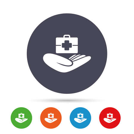 medical case: Medical insurance sign icon. Health insurance. Doctor case. Round colourful buttons with flat icons. Vector