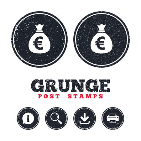 Grunge post stamps. Money bag sign icon. Euro EUR currency symbol. Information, download and printer signs. Aged texture web buttons. Vector