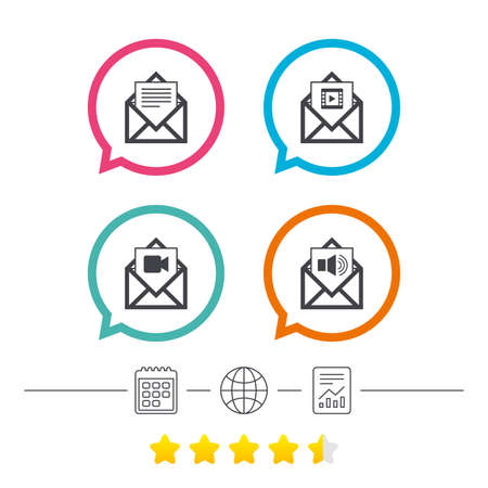 voice mail: Mail envelope icons. Message document symbols. Video and Audio voice message signs. Calendar, internet globe and report linear icons. Star vote ranking. Vector