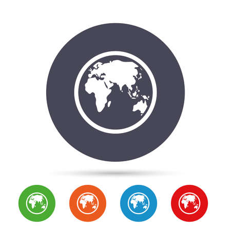 geography: Globe sign icon. World map geography symbol. Round colourful buttons with flat icons. Vector