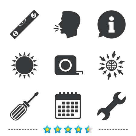 llave de sol: Destornillador y llave llave iconos de la herramienta. Burbuja de nivel y cinta métrica símbolos de signo de ruleta. Información, vaya a los iconos de la web y del calendario. Sol y fuerte hablan símbolo. Vector
