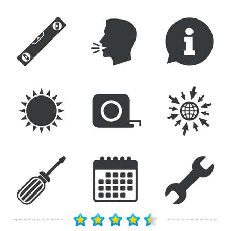 clave sol: Screwdriver and wrench key tool icons. Bubble level and tape measure roulette sign symbols. Information, go to web and calendar icons. Sun and loud speak symbol. Vector