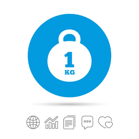 Weight sign icon. 1 kilogram (kg). Envelope mail weight. Copy files, chat speech bubble and chart web icons. Vector