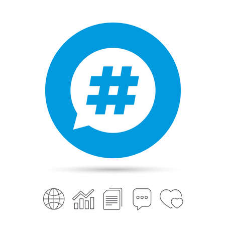 Hashtag speech bubble sign icon. Social media symbol. Copy files, chat speech bubble and chart web icons. Vector Illustration