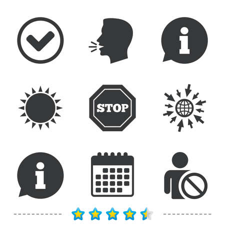 blacklist: Information icons. Stop prohibition and user blacklist signs. Approved check mark symbol. Information, go to web and calendar icons. Sun and loud speak symbol. Vector
