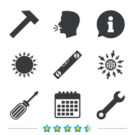 clave sol: Screwdriver and wrench key tool icons. Bubble level and hammer sign symbols. Information, go to web and calendar icons. Sun and loud speak symbol. Vector Vectores