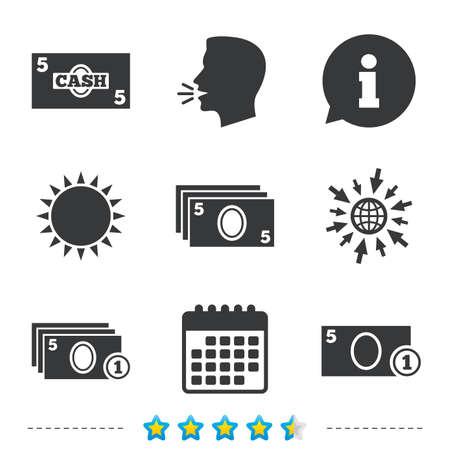 currency symbol: Businessman case icons. Currency with coins sign symbols. Information, go to web and calendar icons. Sun and loud speak symbol. Vector