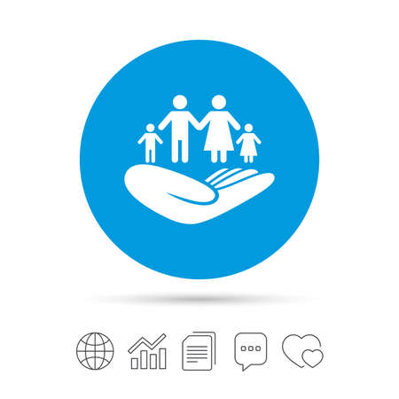 Family life insurance sign. Hand holds human group symbol. Health insurance. Copy files, chat speech bubble and chart web icons. Vector