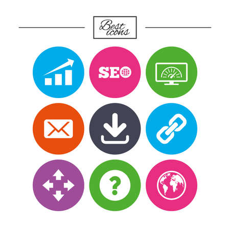 Internet, seo icons. Bandwidth speed, download arrow and mail signs. Hyperlink, monitoring symbols. Classic simple flat icons. Vector Illustration