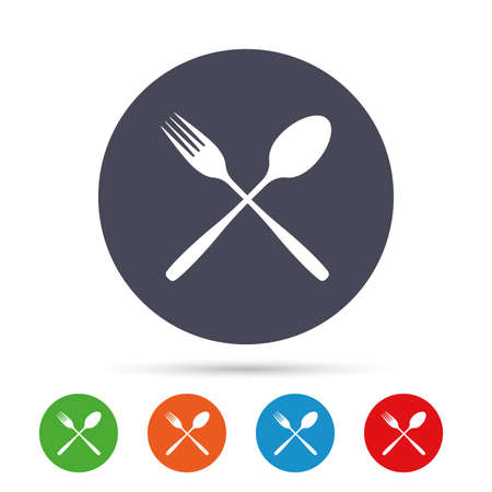 Eat sign icon. Cutlery symbol. Fork and spoon crosswise. Round colourful buttons with flat icons. Vector