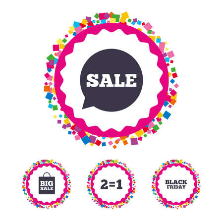 equals: Web buttons with confetti pieces. Sale speech bubble icons. Two equals one. Black friday sign. Big sale shopping bag symbol. Bright stylish design. Vector Illustration