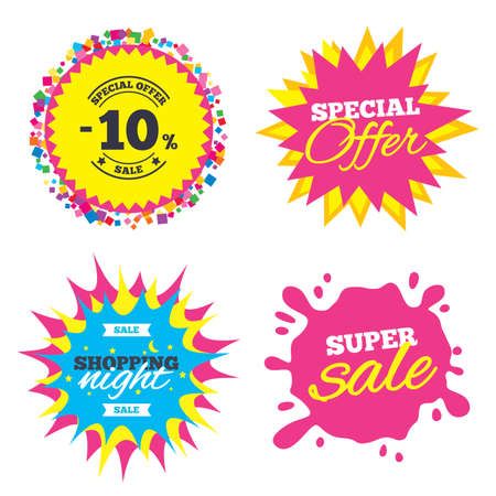 Sale splash banner, special offer star. 10 percent discount sign icon. Sale symbol. Special offer label. Shopping night star label. Vector Illustration