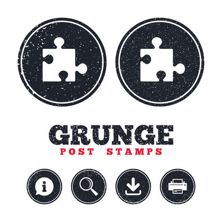 conundrum: Grunge post stamps. Puzzle piece sign icon. Strategy symbol. Information, download and printer signs. Aged texture web buttons. Vector Illustration