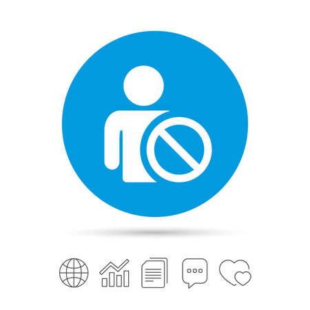 Blacklist sign icon. User not allowed symbol. Copy files, chat speech bubble and chart web icons. Vector