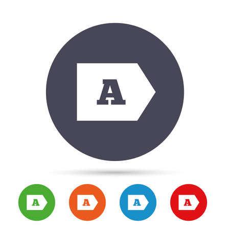 consumption: Energy efficiency class A sign icon. Energy consumption symbol. Round colourful buttons with flat icons. Vector