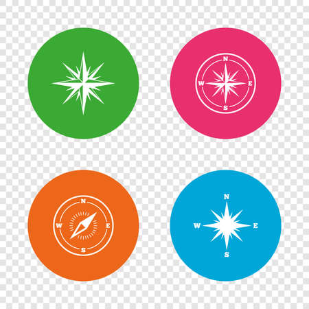 coordinate: Windrose navigation icons. Compass symbols. Coordinate system sign. Round buttons on transparent background. Vector