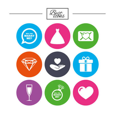 brilliant heart: Wedding, engagement icons. Love oath letter, gift box and brilliant signs. Dress, heart and champagne glass symbols. Classic simple flat icons. Vector