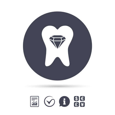 prestige: Tooth crystal icon. Tooth jewellery sign. Dental prestige symbol. Report document, information and check tick icons. Currency exchange. Vector Illustration
