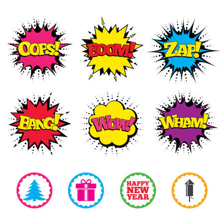 sound box: Comic Wow, Oops, Boom and Wham sound effects. Happy new year icon. Christmas tree and gift box signs. Fireworks rocket symbol. Zap speech bubbles in pop art. Vector