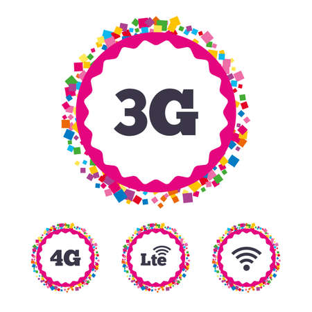 3g: Web buttons with confetti pieces. Mobile telecommunications icons. 3G, 4G and LTE technology symbols. Wireless and Long-Term evolution signs. Bright stylish design. Illustration