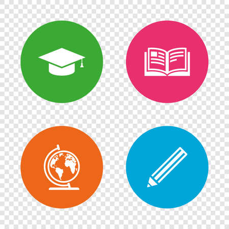 geography background: Pencil and open book icons. Graduation cap and geography globe symbols. Education learn signs. Round buttons on transparent background. Vector