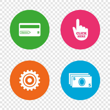 bank withdrawal: ATM cash machine withdrawal icons. Insert bank card, click here and check PIN, processing and get cash symbols. Round buttons on transparent background. Illustration