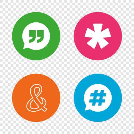 Citaat, asterisk voetnootpictogrammen. Hashtag sociale media en ampersand-symbolen. Logische operator EN teken programmeren. Spraak bubbel. Ronde knoppen op transparante achtergrond. Stock Illustratie