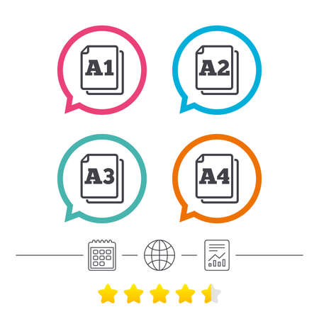 a2: Paper size standard icons. Document symbols. A1, A2, A3 and A4 page signs. Calendar, internet globe and report linear icons. Star vote ranking. Illustration