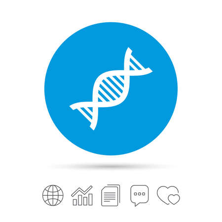 bubble acid: DNA sign icon. Deoxyribonucleic acid symbol. Copy files, chat speech bubble and chart web icons.